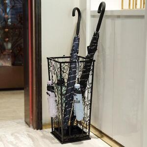 Metal Umbrella Stand Base Walking Stick Home Office Hallway Storage Holder Black