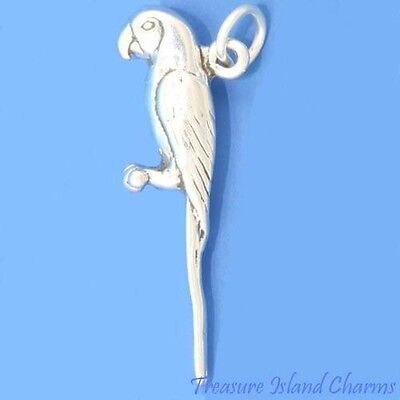 MACAW PARROT TALKING TROPICAL BIRD 3D .925 Solid Sterling Silver Charm