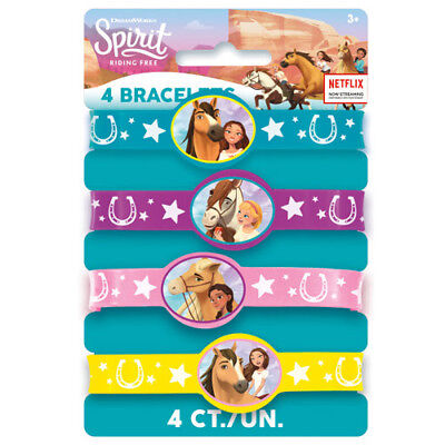 SPIRIT Riding Free RUBBER BRACELETS (4) ~ Birthday Party Supplies Favors (Free Rubber Bracelets)