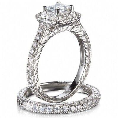 - US Princess Cut White Sapphire Ring Set White Gold Womens Wedding Band Size 5-10