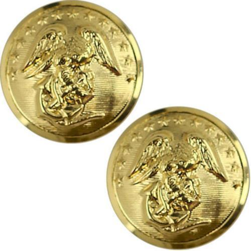 USMC Marine Corps Buttons  27L Anodized - CARD OF 2   (Made in USA)