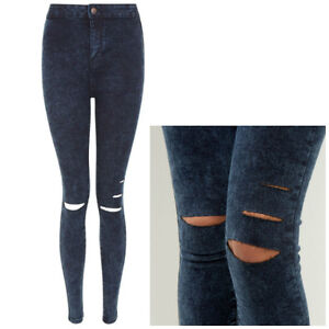 Ladies Teen New Look Acid Wash High Waisted Super Skinny Ripped ...