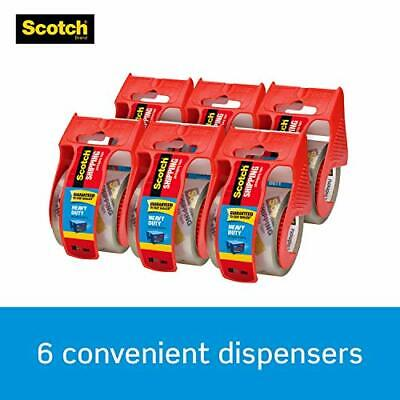 Scotch Heavy Duty Shipping Packaging Tape 6 Rolls With Dispenser 1.88 X 22.2
