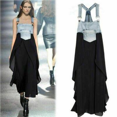 Sommer Kleid Jeans (Damen Sommer Denim Maxi Spitzes Jeans Kleid Latz Rock Trägerkleid Partykleider)