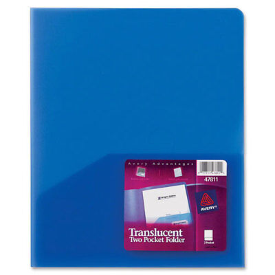Avery Plastic Two-pocket Folder 20-sheet Capacity Translucent Blue 47811