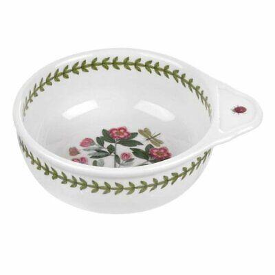 "Portmeirion Botanic Garden Round Baking Dish Single Handle 6"" Green Leaf Border"