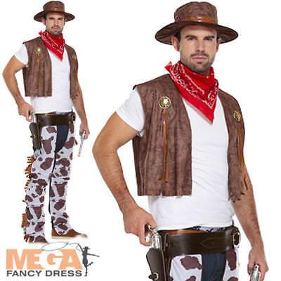 Cowboy Men's Fancy Dress Western Adult Sherrif Rodeo Costume Outfit + Hat M,L,XL - Cowboy Outfit For Men