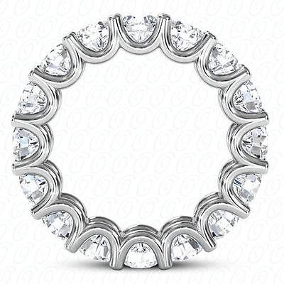 4.5 ct Round Diamond Eternity Ring 14k Gold U Band 15 x 0.30 ct E-F VVS GIA sz 4