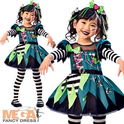 Miss Frankenstein Girls Fancy Dress Halloween Undead Monster Childs Kids - Miss Undead Costume