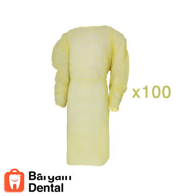 Winner Dental Isolation Gowns Elastic Cuffs Disposable 100 Pcs Yellow -fda