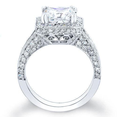 3.10 Ct. Princess Cut Pave Diamond Halo Engagement Ring E,VS1 GIA 18K White Gold 1