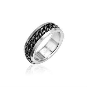 bague anneau bijou femme homme ado acier neuve enchaine chaine noir incruste ebay. Black Bedroom Furniture Sets. Home Design Ideas