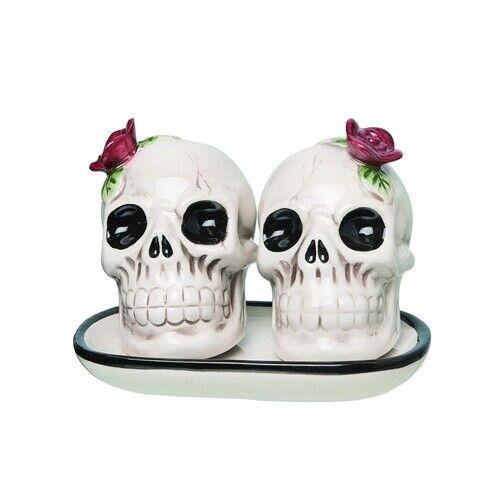 """Red Flower Skull Shakers 3"""" Halloween Day of the Dead Ceramic Salt & Pepper"""