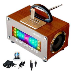 Tragbare USB SD Karten Radio MP3 LED FM Lautsprecher Lichtorgel Akku  220V braun