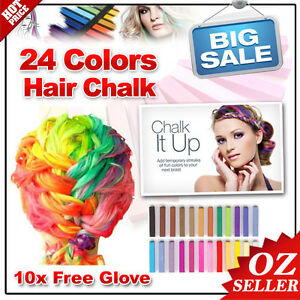 Colouring Hair Chalk 24 Colors Temporary Pastel Non-Toxic DIY Painting Dye