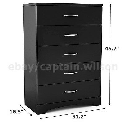 كومودينو جديد Bedroom Storage Dresser Chest 5 Drawer Modern Wood Furniture Black