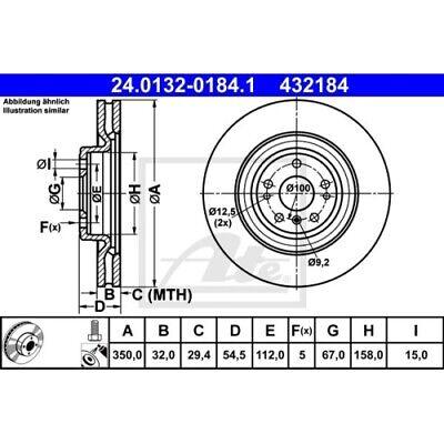 2x Bremsscheibe ATE 24.0132-0184.1 für MERCEDES-BENZ, Vorderachse
