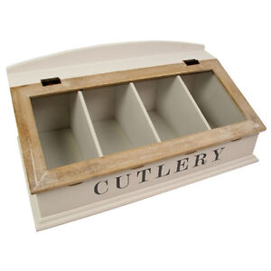 Cutlery holder unit rack drawer 4 compartment tray lid for Cutlery storage with lid