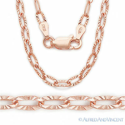 .925 Sterling Silver 14k Rose Gold Plated Cable Link Chain Necklace - Italy-Made