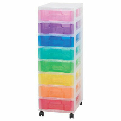 Really Useful Box Multicoloured Storage Unit  8 x 7L Clear Tower Rainbow drawers