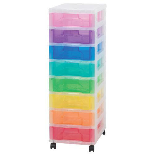 Really Useful Multicoloured Storage Filing 8 x 7L Clear Tower Rainbow drawers