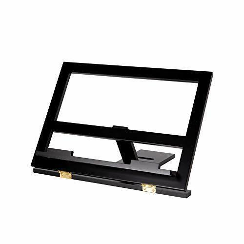 Bamboo Book Stand Adjustable Portable Copyholder Foldable Reading Desk Dark