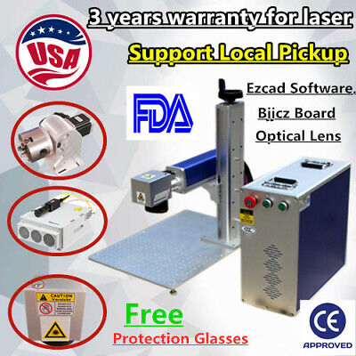 Us 20w Raycus Fiber Laser Marking Machine Engraving Machine Rotation Axis Fda Ce