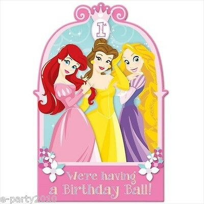 DISNEY PRINCESS 1st BIRTHDAY POSTCARD INVITATIONS (8) ~ First Party Supplies
