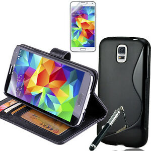 BLACK-Wallet-Gel-4in1-Accessory-Bundle-Kit-Case-Cover-For-Samsung-Galaxy-S5