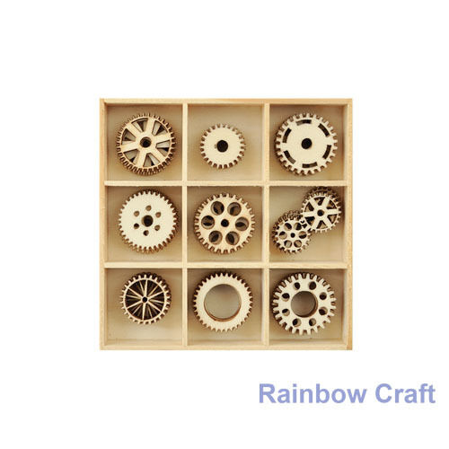 Kaisercraft Wooden Flourish packs / storage box 74 selections - Cogs