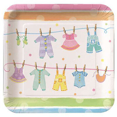 BABY SHOWER Clothesline EXTRA LARGE PAPER PLATES (8) ~ Party Supplies Dinner (Baby Shower Clothesline)