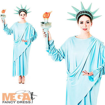 Statue of Liberty Ladies Fancy Dress American NY Novelty Adults Costume Outfit  - Statue Of Liberty Outfit
