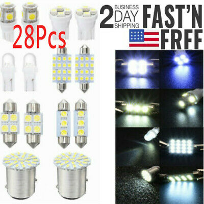 28Pcs/2Set Auto Car Interior LED Light Dome License Plate Mixed Lamp Accessories