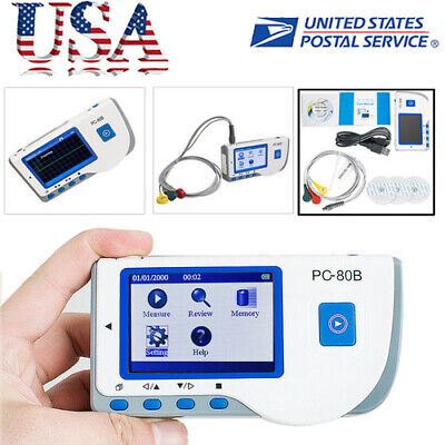 Pc-80b Handheld Portable Electrocardiograph Ecg Ekg Heart Rate Monitor Usb Lcd