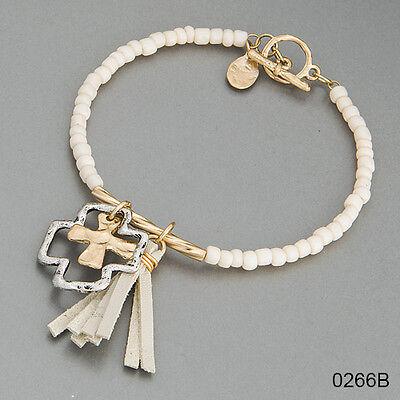 Simple Seed Bead Cross Tassel Charm Bohemian Indie Style Design Bangle Bracelet Seed Bead Crosses Bracelet