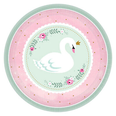 BABY SHOWER Sweet Swan SMALL PAPER PLATES (8) ~ Party Supplies Cake Dessert - Baby Shower Plates