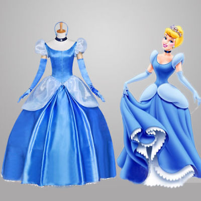US! Women Princess Cinderella Halloween Cosplay Costume Fancy Gorgeous Dress