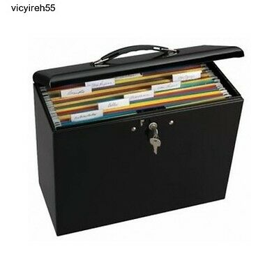 Portable File Box Locking Folder Storage Security Metal Steel Office Desktop