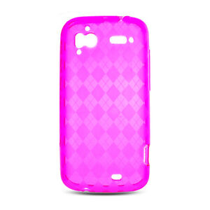 For HTC Sensation 4G PU CANDY Gel Flexi Skin Case Phone Cover Hot Pink Plaid