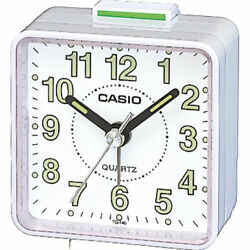 Casio TQ140-7D White Dial Easy Reader White Table Top Travel Alarm Clock
