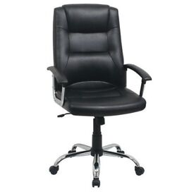 Black Berlin Business Real Leather faced Executive Computer office Chair