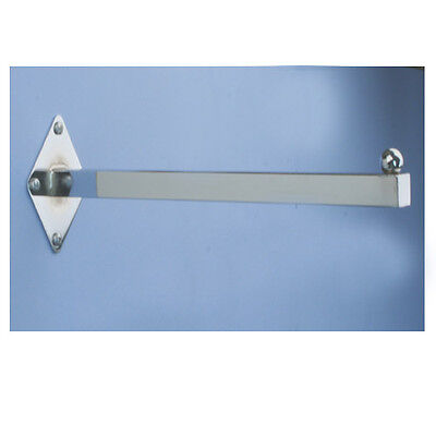 12 Wall Mount Faceout Straight Square Tubing Tube Fixture - Chrome - 5 Pieces