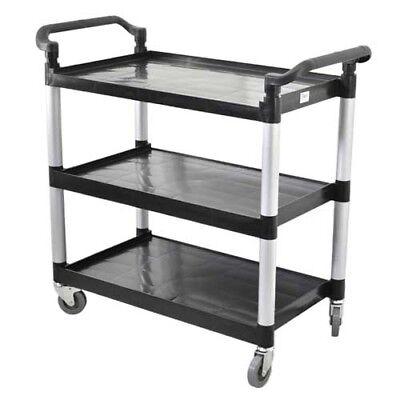 Omcan 24183 Black Plastic 3 Shelf Restaurant Utility Commercial Bus Cart