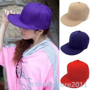 Adjustable-Cotton-Hip-Hop-Cap-Solid-Color-Flat-Visor-Baseball-Hat-Snapback-NEW