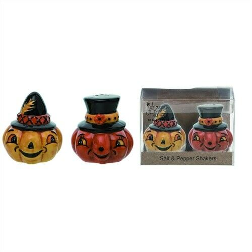 """Pumpkin Witch Shakers 2.75"""" Halloween Fall Ceramic Salt & Pepper Johanna Parker"""