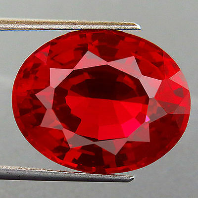 UNUSUAL 12x10mm OVAL-FACET HOT-RED RUBY GEMSTONE £1 NR!