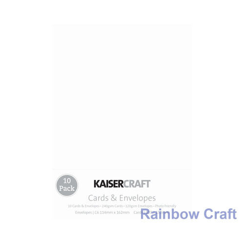 Kaisercraft 10 blank Cards & Envelopes Square / C6 size (12 selections) - White - C6