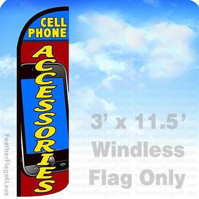 Cell Phone Accessories - Windless Swooper Flag 3x11.5 Feather Banner Sign - Bq