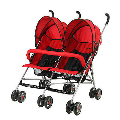 Dream On Me Double Twin Stroller - Red