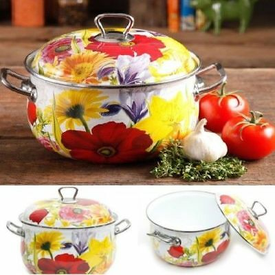 Pioneer Woman 4-Quart Dutch Oven Floral Casserole Lid Cookware Steel Kitchen